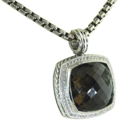 David Yurman 925 Sterling Silver Smoky Quartz Diamond Enhancer