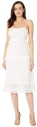 American Rose Reeve Eyelet Tiered Midi Dress (White) Women's Dress