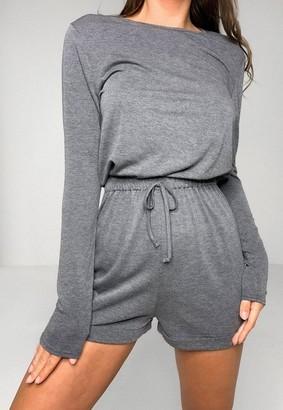 Missguided Petite Gray Long Sleeve Drawstring Waist Romper