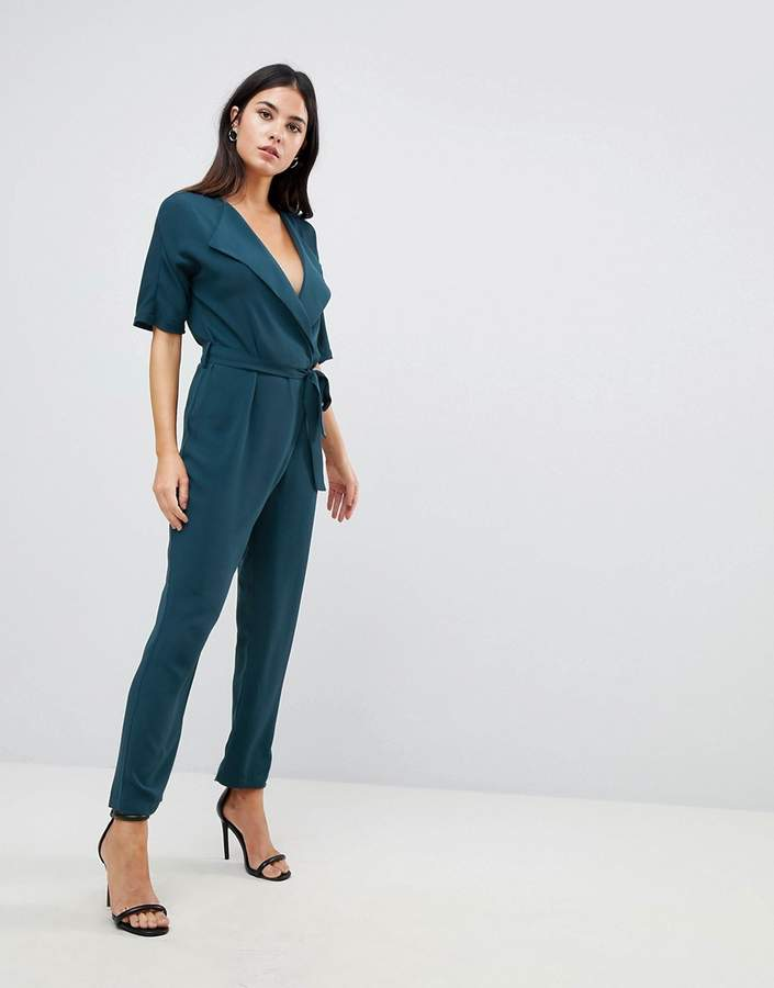 Asos Design Wrap Jumpsuit With Self Belt