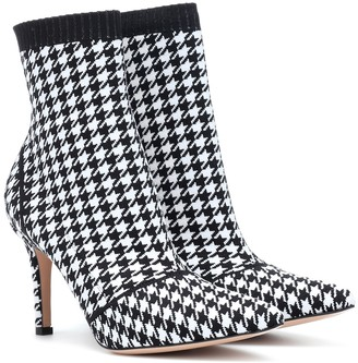 Gianvito Rossi Houndstooth 85 ankle boots