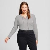 Who What Wear Women's Plus Size Lace Up Bodysuit