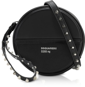 DSQUARED2 Black Studded Round Pill Calf Leather Crossbody Bag