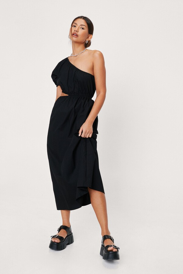 Thumbnail for your product : Nasty Gal Womens Cut Out Detail One Shoulder Poplin Midi Dress
