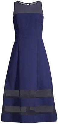 Aidan Mattox Mesh Detail Fit & Flare Dress