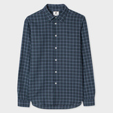 Paul Smith Men's Tailored-Fit Green And Navy Check Brushed-Cotton Shirt