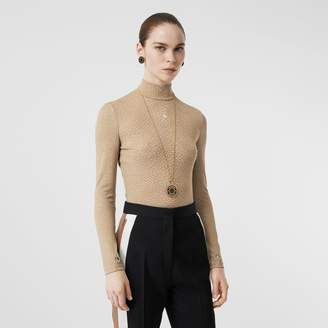 Burberry Fish-scale Print Stretch Jersey Turtleneck Top