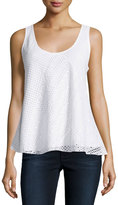 Chelsea & Theodore Eyelet Scoop-Neck Tank, Bleach White