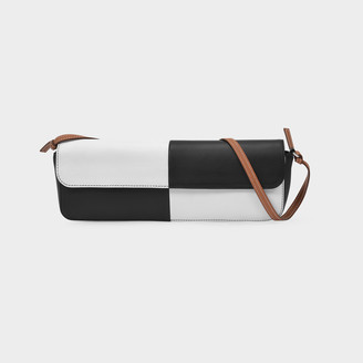 Abra Big Baguette Bag In White And Black Leather