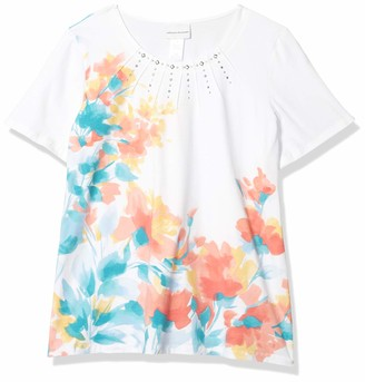 Alfred Dunner Women's Plus Size Jeweled Neckline Floral Print Knit TOP