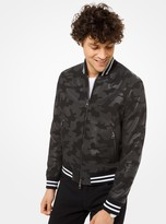 Michael Kors Camouflage Leather Varsity Jacket