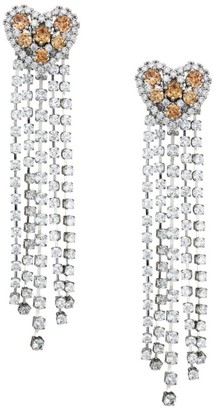 Fallon Rhodium Plated Cubic Zirconia Heart Chandelier Drop Earrings