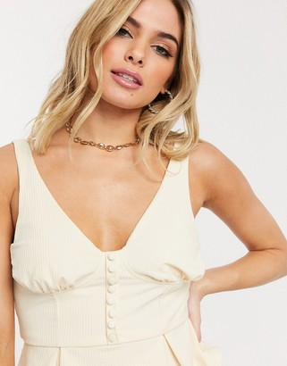 UNIQUE21 peplum top with bust detail in cream