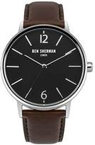 Ben Sherman Men's Quartz Watch with Black Dial Analogue Display and Two Tone Leather Strap WB059BRN