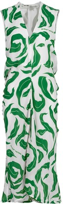 Off-White Leaves Illusion Draping Dress