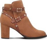 Valentino Rockstud suede block-heel ankle boots
