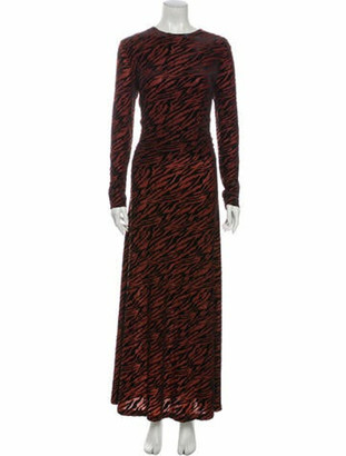 Ganni Animal Print Long Dress w/ Tags Red