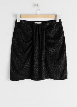 And other stories Heart Jacquard Gathered Mini Skirt