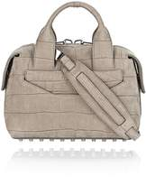 Alexander Wang Rogue Small Satchel In Croc Embossed And Nubuck Sage With Rhodium
