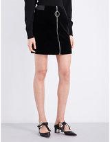 Thierry Mugler Zip-detail velvet mini skirt