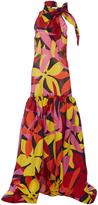 Naeem Khan Drop Waist Floral Bow Gown