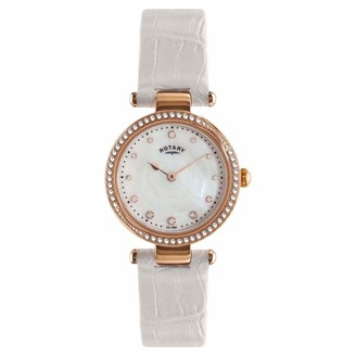 Rotary Ladies Analogue Rose Gold Mother of Pearl Dial White Leather Strap Watch LS00512/41