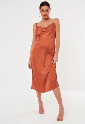 Missguided Rust Satin Cowl Cami Slip Midi Dress