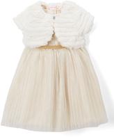 Nannette Light Pink Dot A-Line Dress & Faux Fur Bolero - Girls