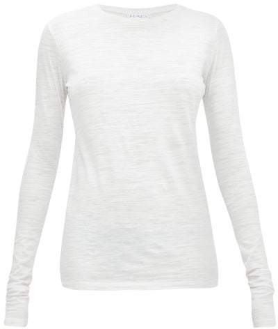 Raey Long Sleeved Slubby Cotton Jersey T Shirt - Womens - White
