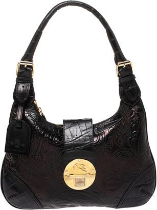 Etro Black Paisley Embossed Leather Hobo