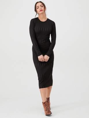 Very Textured Bodycon Midi Dress - Black
