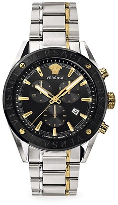 Versace V-Chrono Two-Tone IP Black Yellow Gold Stainless Steel Bracelet Strap Watch