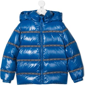 Versace Feather-Down Jacket With Logo Tape Detail