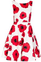 Quiz Cream Poppy Print Satin Dress