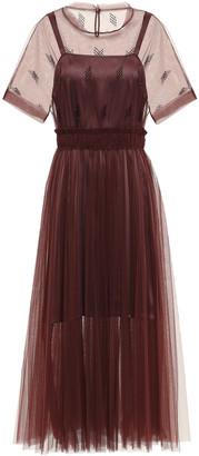 Brunello Cucinelli Bead-embellished Pleated Tulle Midi Dress