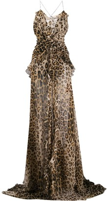 Etro Leopard Print Sheer Maxi Dress