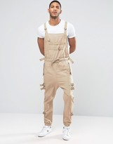 Asos Drop Crotch Overalls With Strapping In Stone
