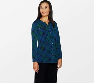 Susan Graver Printed Liquid Knit Shirt with Zipper Pockets