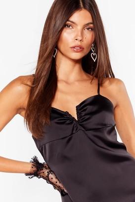 Nasty Gal Womens Satin V Cut Slit Cami Dress - Black - 10