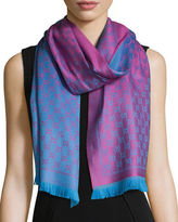 Gucci Reversible Wool Stencil Scarf, Purple/Red