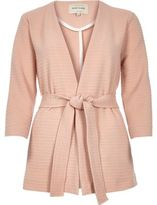 River Island Womens Light pink ribbed belted jacket