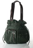 Tyler Rodan Green Brown Nylon Medium Drawstring Shoulder Handbag