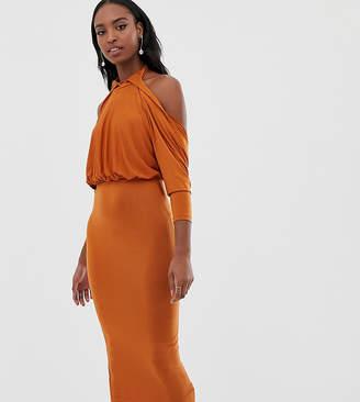 Asos Tall DESIGN Tall slinky high neck blouson sleeve open back midi dress-Brown