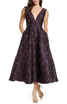 ML Monique Lhuillier Floral Jacquard A-Line Dress