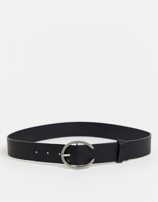 Glamorous waist and hip belt in black with silver minimal round buckle