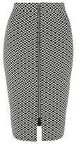 George Monochrome Zip-Front Pencil Skirt