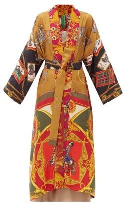 RIANNA + NINA Vintage Shawl-lapel Patchwork Silk Coat - Multi