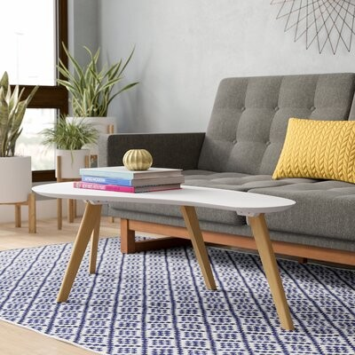 Thumbnail for your product : Mercury Row Campanelli Coffee Table Table Top Color: White, Table Base Color: Oak