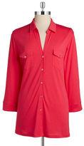 Calvin Klein Button-Front Jersey Top