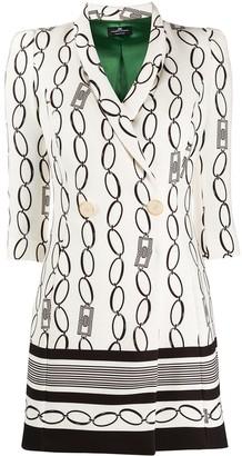 Elisabetta Franchi Chain-Print Wrap Dress